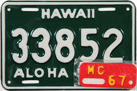 1967 Hawaii Motorcycle License Plate