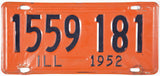 1952 lllinois License Plate Very Good