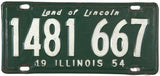 1954 Illinois License Plate very good condition