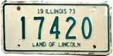 1973 Illinois Motorcycle License Plate