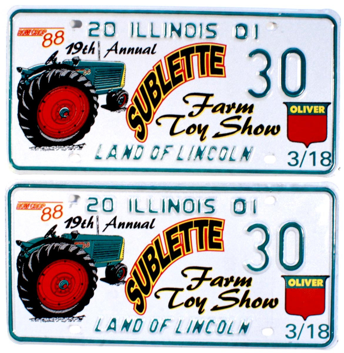 2001 Illinois Farm Toy Show License Plates