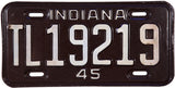 1945 Indiana Trailer License Plate