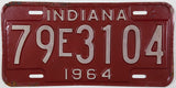 1964 Indiana License Plate Tippecanoe County 79 Good Plus to VG Minus