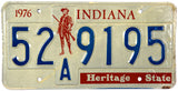 1976 Indiana Bicentennial License Plate in Very Good Plus condition