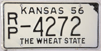 1956 Kansas License Plate in New Old Stock excellent condition
