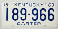 1960 Kentucky License Plate