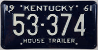 1961 Kentucky House Trailer License Plate