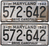 DMV 1942 Maryland License Plates
