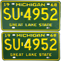 1968 Michigan License Plates