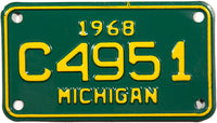 1968 Michigan Motorcycle License Plate