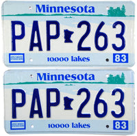 1983 Minnesota License Plates