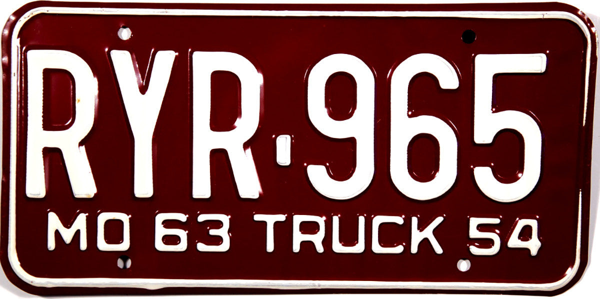 1963 Missouri Beyond Local Truck License Plate