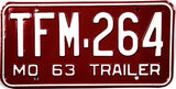 1963 Missouri Trailer License Plate