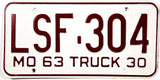 1963 Missouri Local Truck License Plate