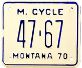 1970 Montana Motorcycle License Plate