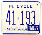 1972 Montana Motorcycle License Plate