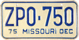 1975 Missouri License Plate