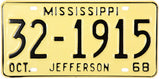 1968 Mississippi License Plate