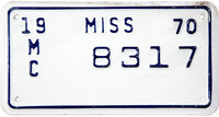 1970 Mississippi Motorcycle License Plate