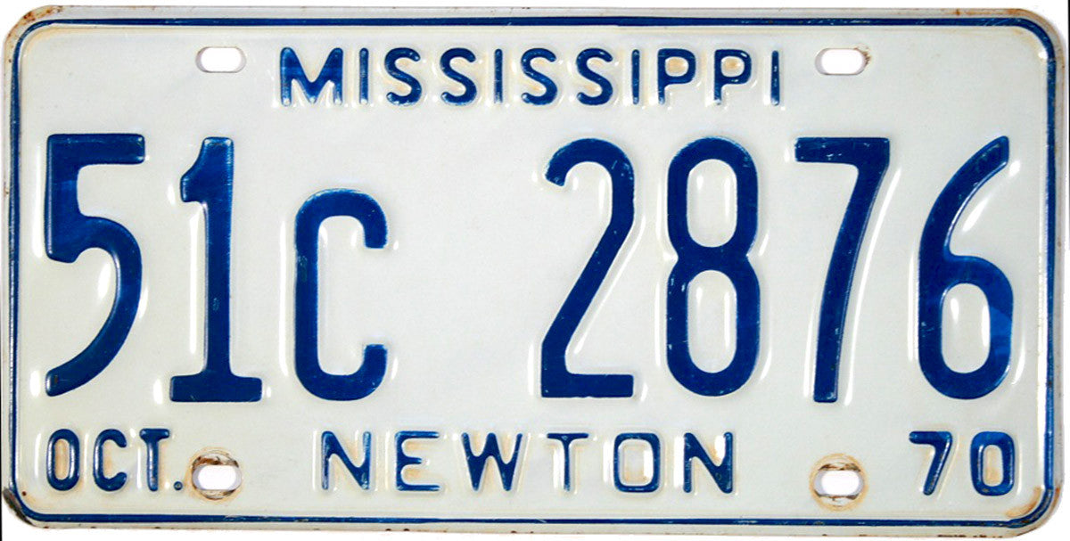 1970 Mississippi License Plate