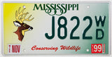 1999 Mississippi Deer Wildlife License Plate