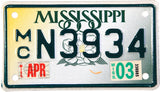 2003 Mississippi Motorcycle License Plate