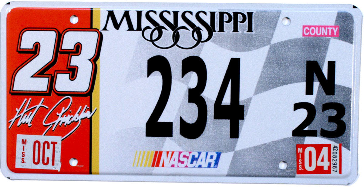 2004 Mississippi Hut Stricklin Nascar License Plate