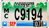 2007 Mississippi Motorcycle License Plate in excellent condition