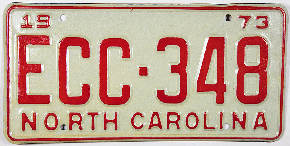 1973 North Carolina License Plate in NOS Excellent condition