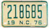 1976 North Carolina Motorcycle License Plate
