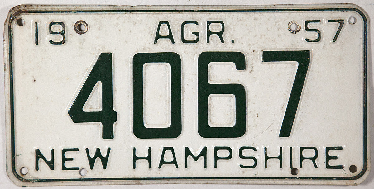 1957 New Hampshire Agriculture License Plate