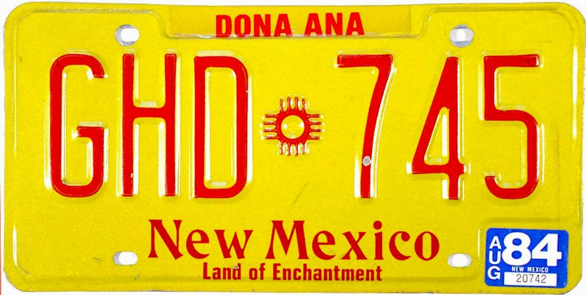 1984 New Mexico License Plate