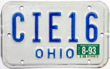 1993 Ohio Motorcycle License Plate