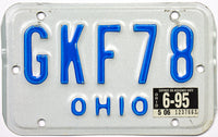 1995 Ohio Motorcycle License Plate