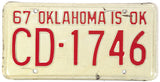 1967 Oklahoma License Plate Very Good