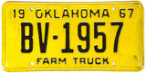 1967 Oklahoma Farm License Plate Excellent Condition