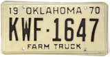 1970 Oklahoma Farm License Plate Excellent Condition