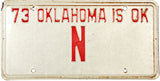 1973 Oklahoma Single N License Plate