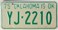 1975 Oklahoma License Plate Excellent Plus condition