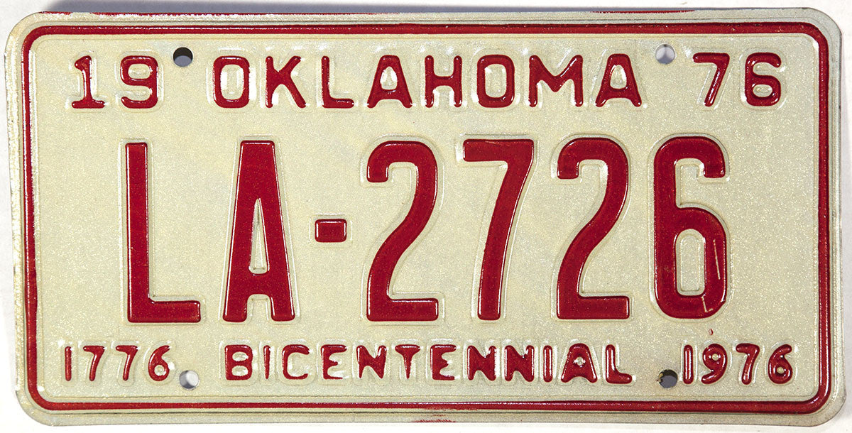 1976 Oklahoma License Plate Excellent Plus condition