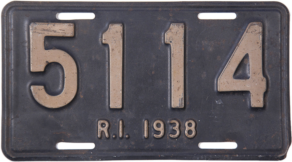 1938 Rhode Island car License Plate in very good condition