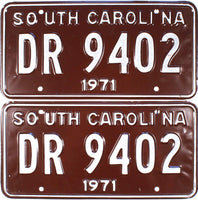 1971 South Carolina License Plates