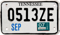2007 Tennessee Motorcycle License Plate