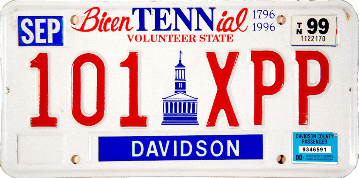 1999 Tennessee License Plate | Brandywine General Store