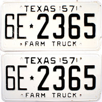 1957 Texas Farm Truck License Plates