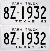 1963 Texas Farm Truck License Plates