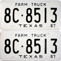 1967 Texas Farm Truck License Plates