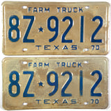 1970 Texas Farm Truck License Plates in Very Good Minus condition