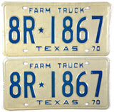 1970 Texas Farm Truck License Plates in Excellent Minus condition