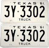 1961 Texas Truck License Plates